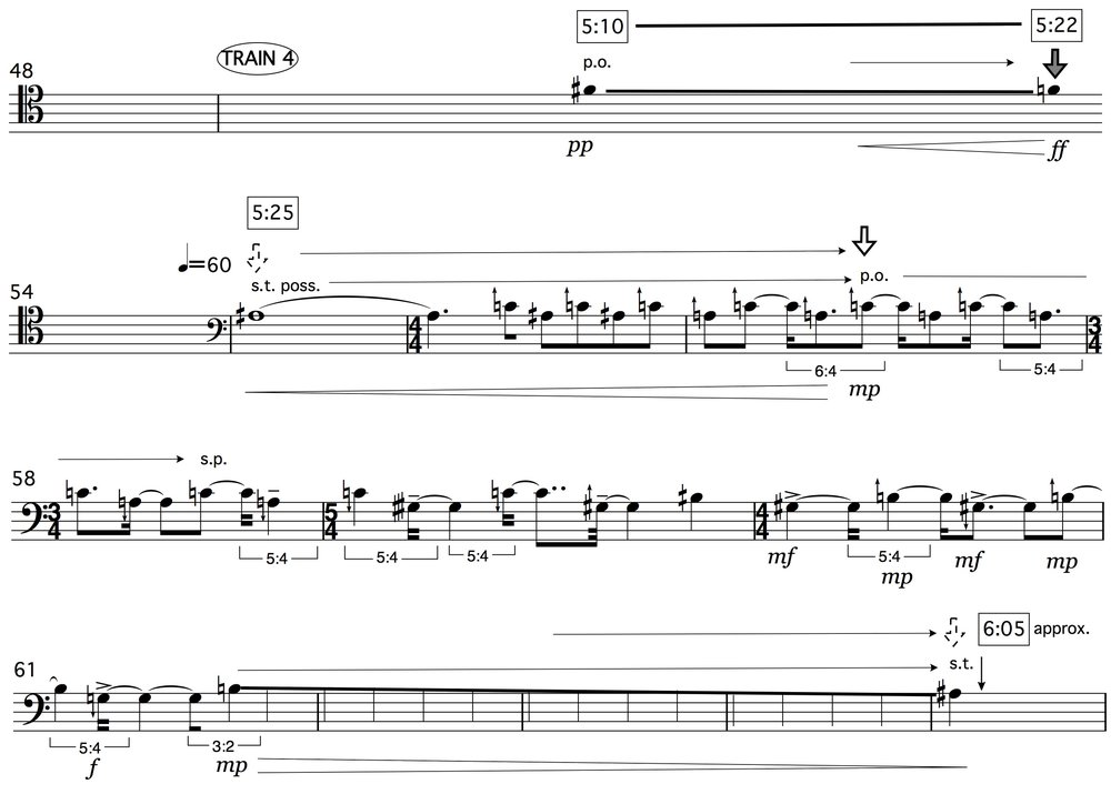 Joanna Bailie, Trains (2014) for cello and tape, excerpt.
