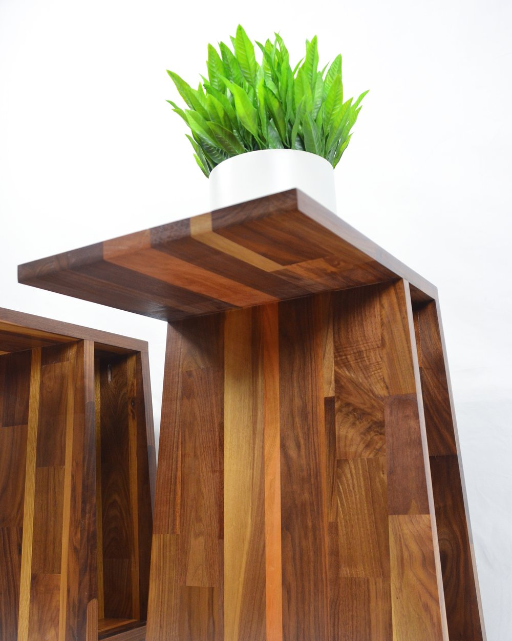Marcella Side Table, Walnut/Cherry/Oak Combination