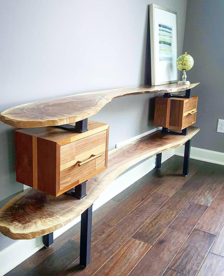 Frankie, Walnut Top/Bottom Shelves & Walnut/Oak Combination Floating Box Storage