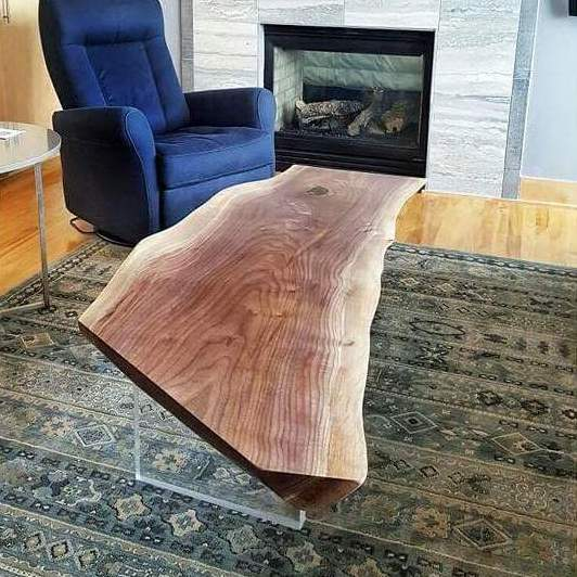 Floating Live Edge, Walnut Slab & Crystal Clear Acrylic Base