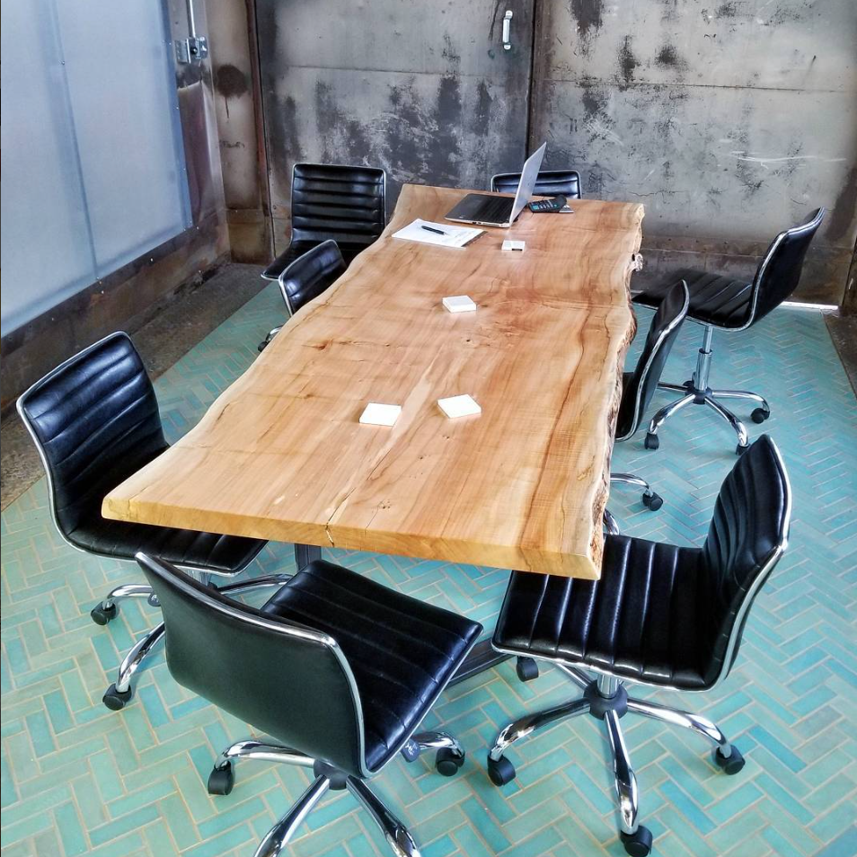 Conference Table @ Mercury Mosaics. Maple Slab & Steel Base