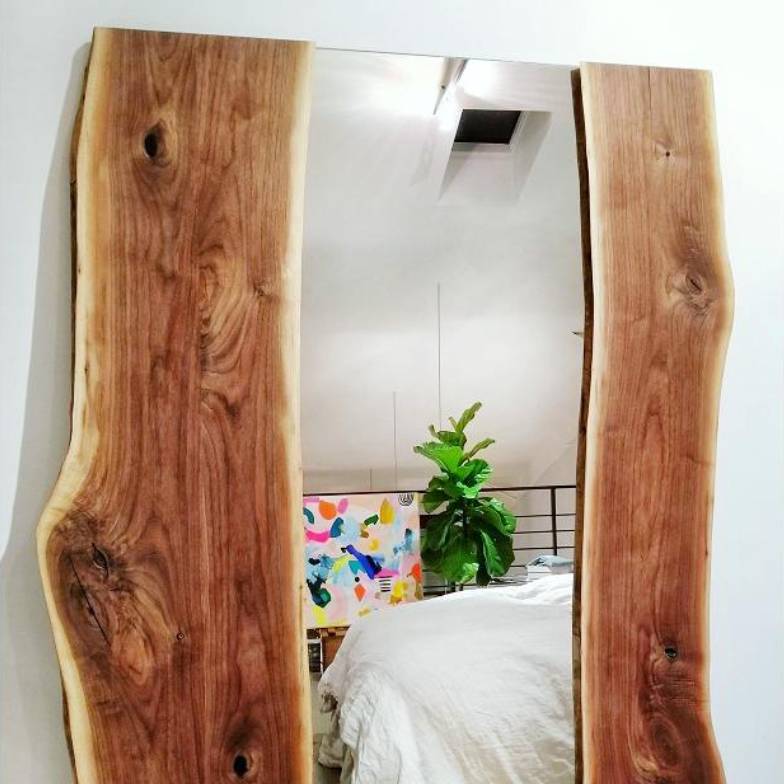 Omega Live Edge Mirror, Black Walnut Slabs & Steel Frame