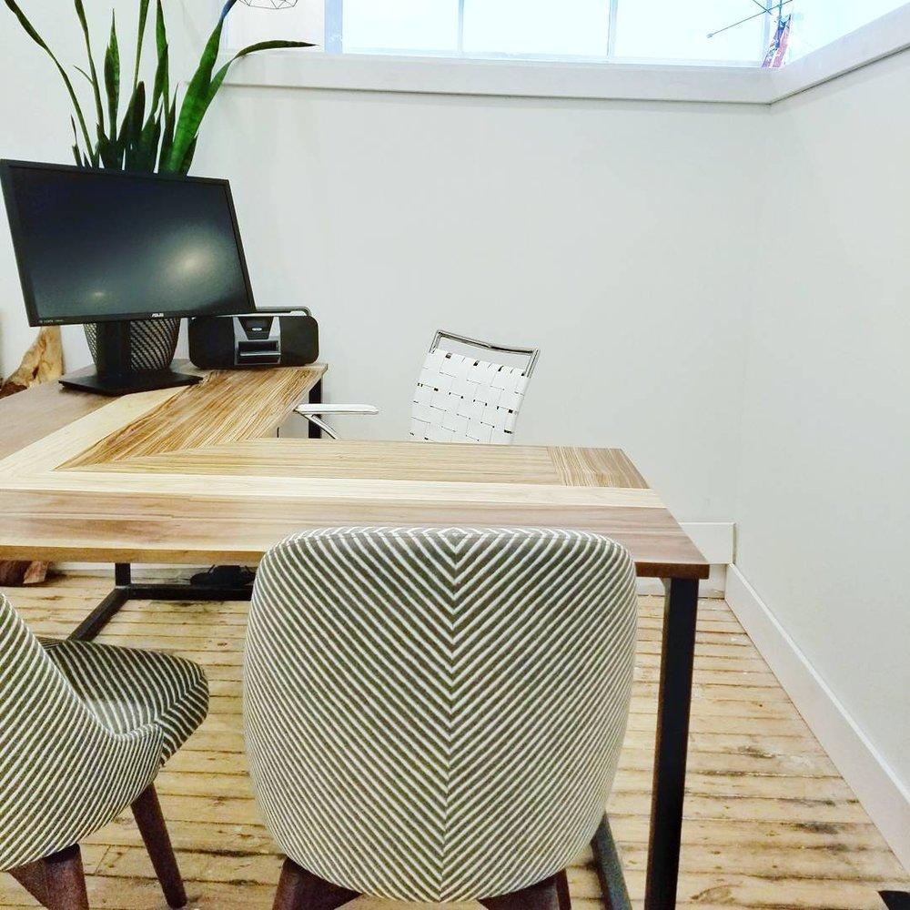 Multi-wood Desk With Steel Base