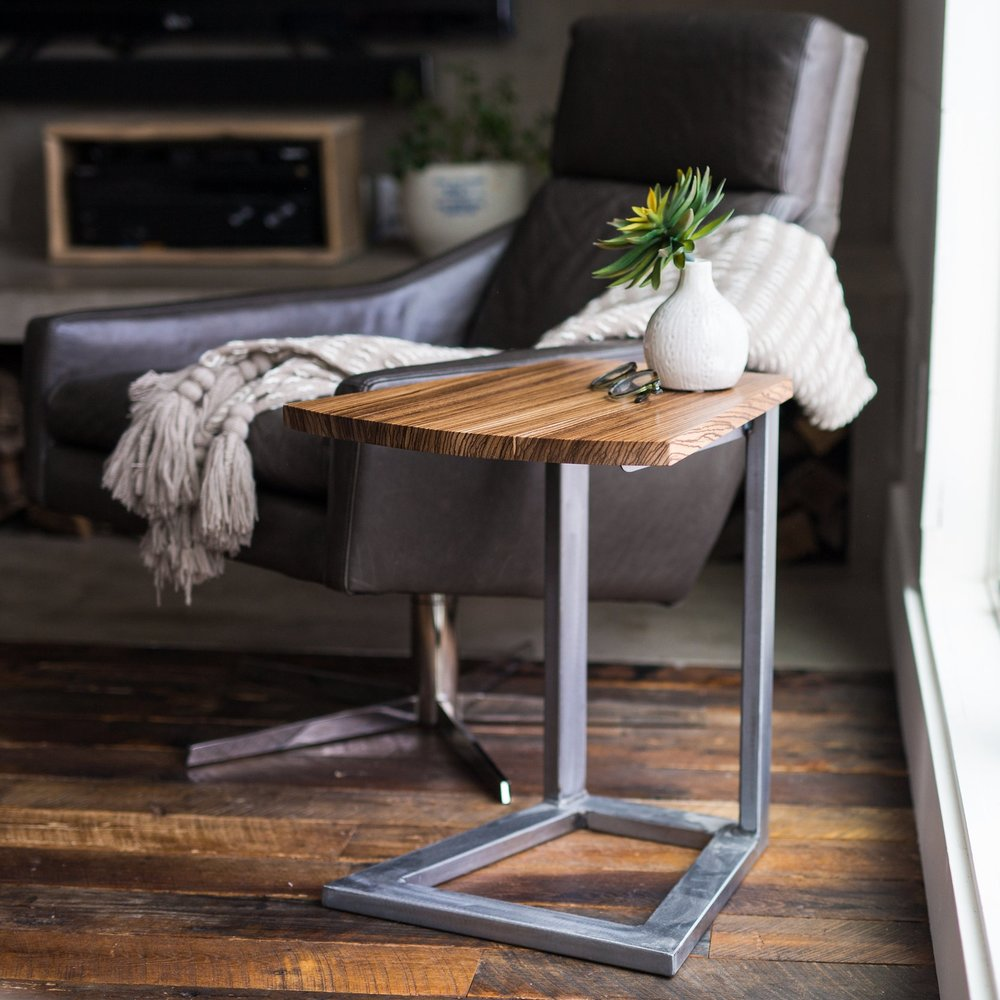 Felix Side Table, Burnished Steel & Marblewood
