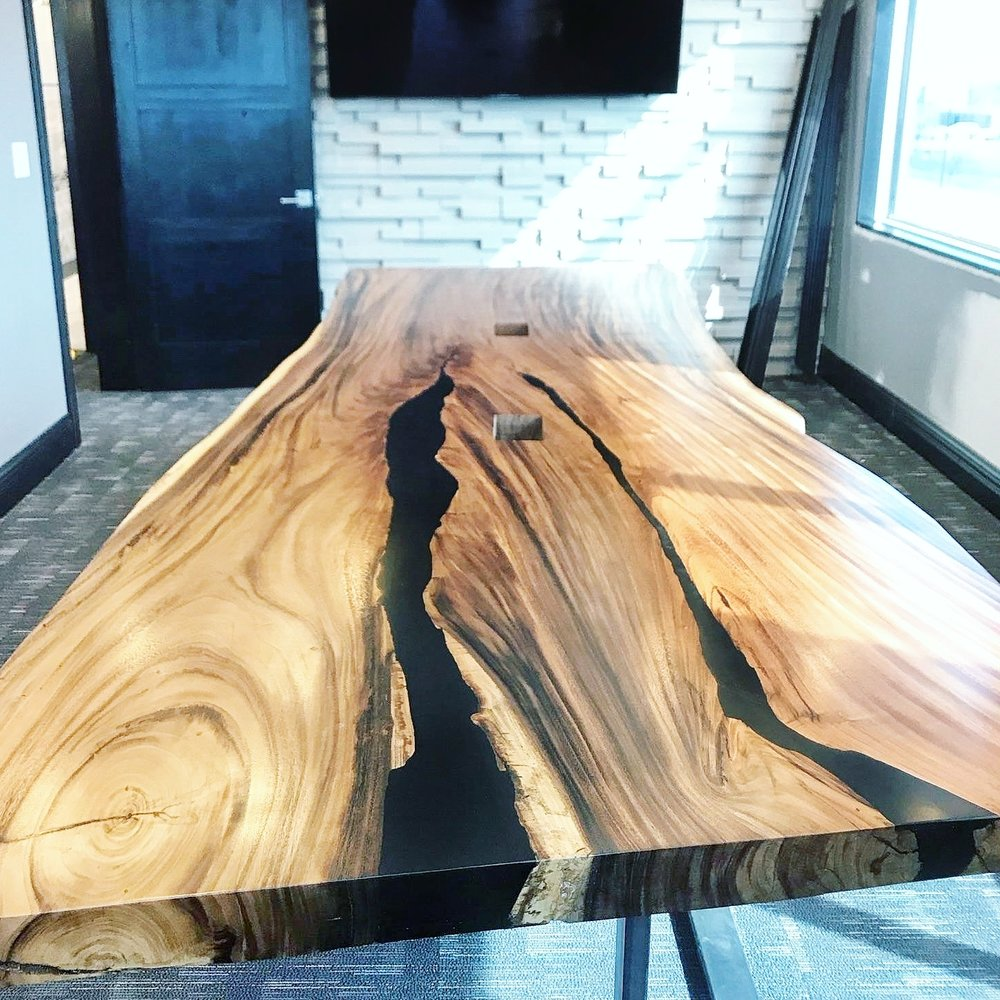 14' Monkeypod Conference Table with jet black epoxy filler