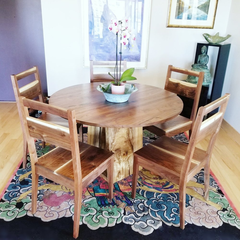Round Walnut Dining Table w/ Myrtle Wood Base + Set of Handcrafted Walnut Chairs