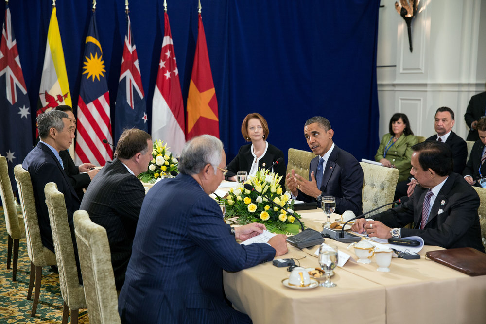 President Obama negotiating the Trans-Pacific Partnership. (Image via Business Pundit)