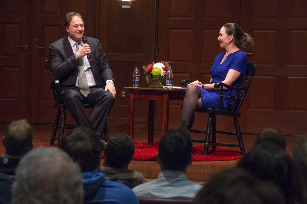 Steve Pagliuca, alongside College President Carol Quillen, at last night's Nisbet Lecture. (Photography by Bill Giduz)