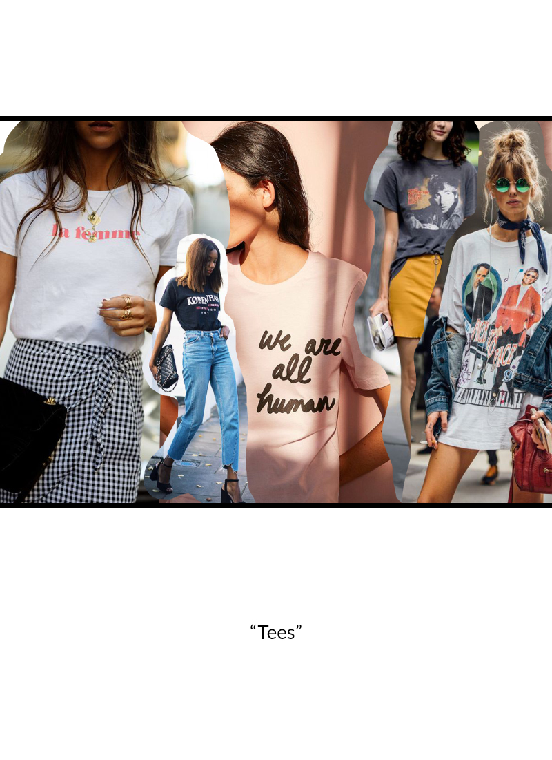 <h4><center>The t-shirt has a new definition. Now, a t-shirt can be an eventful piece of clothing used to express a social stance or other personal ideals and is paired with atypical clothing.