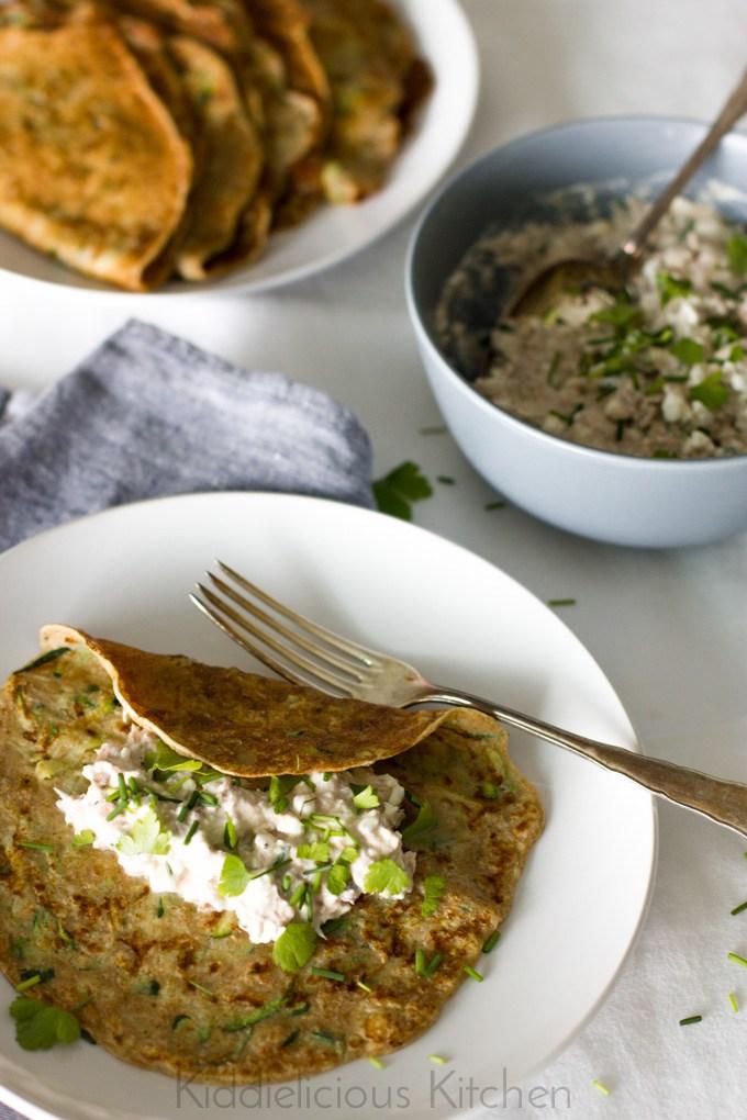 Zuccini Crepes with Tuna Salad