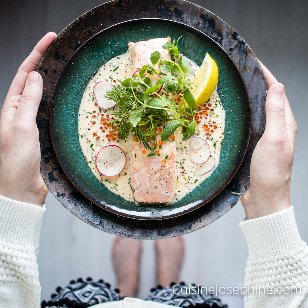 Cuisine Josephine | Black Salmon with White Trout Roe Sauce
