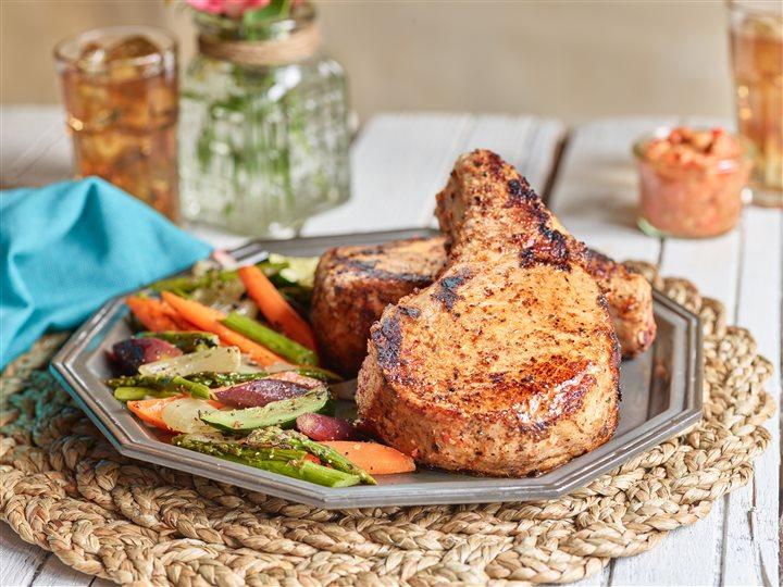 Sauteed Pork Chops with Romesco
