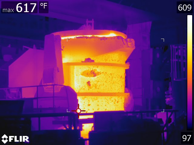 The refractory engineer begins every day by reviewing a thermal image of each ladle and reviewing it for abnormalities.