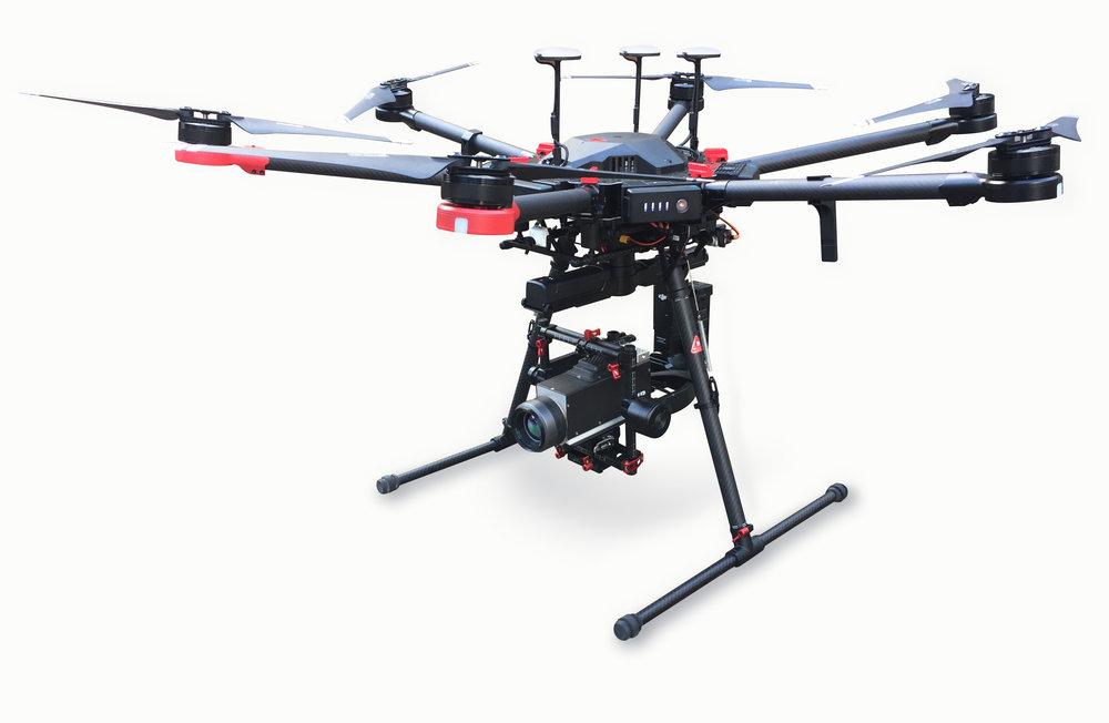 M600 Pro OGI  - The M600 Pro UAV system equipped with the FLIR G300a OGI camera