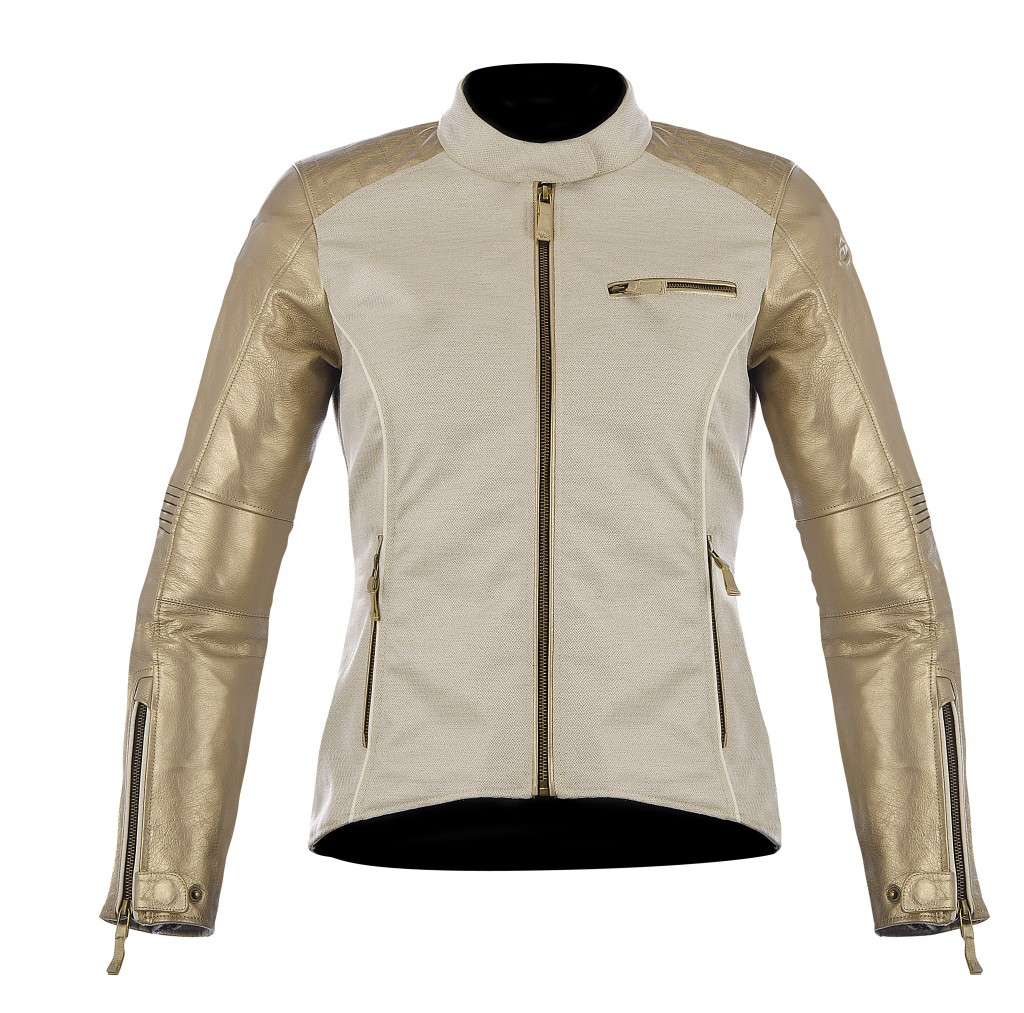 alpinestars renee champagne leather textile jacket gold
