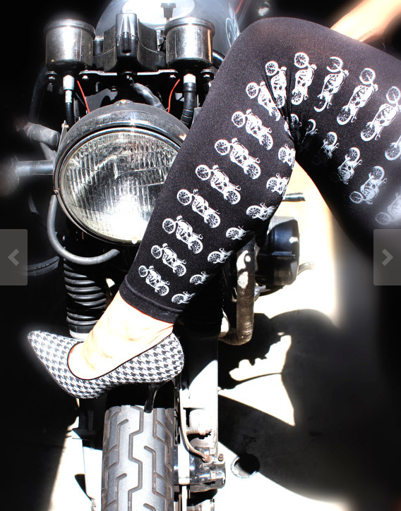 cute motorcycle leggings spectre apparel screenprinted motorcycles
