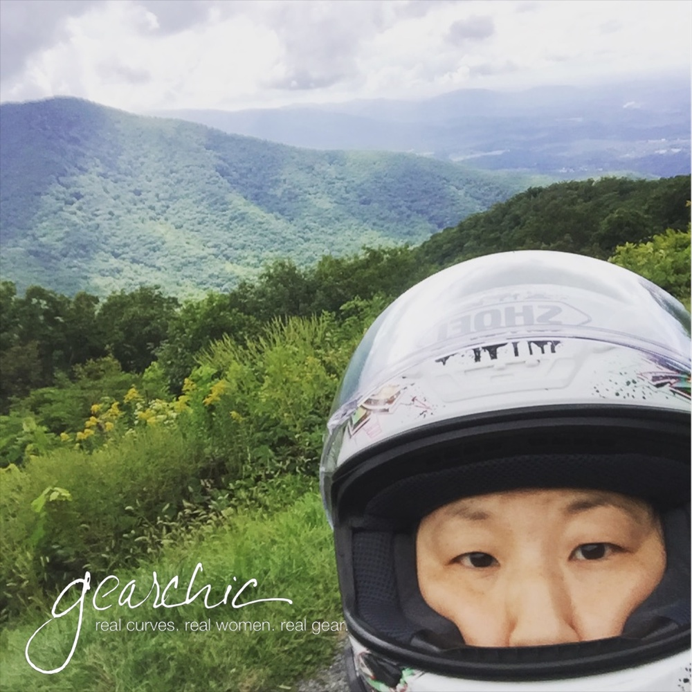 Me wearing my Shoei RF-1200 along Skyline Drive in VA