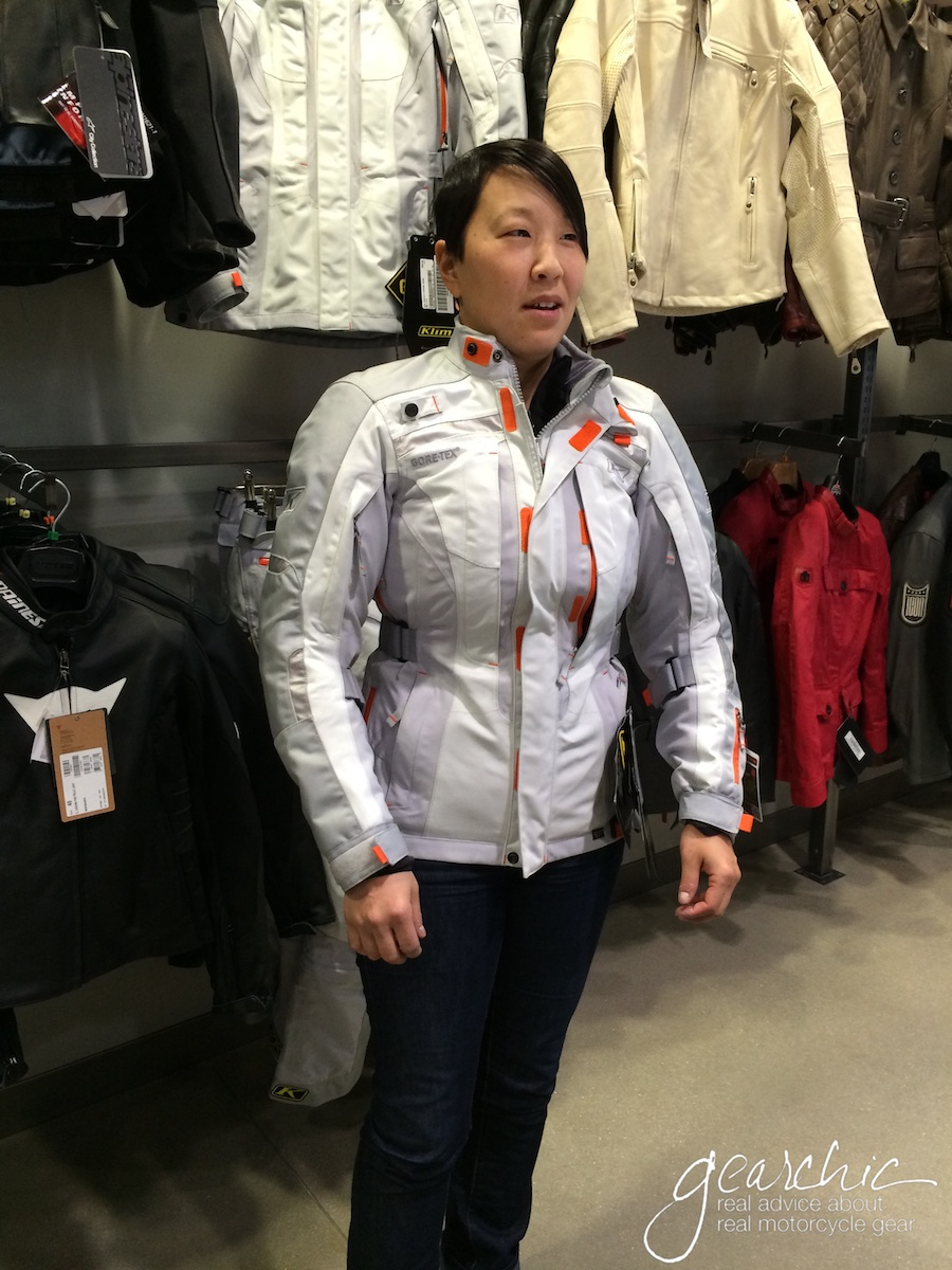 March 2014. Here I am wearing a Small? in the older Klim Altitude GTX ladies jacket.