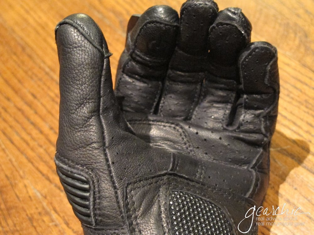 3/ Held Touch Perforated Gloves . See how there's only a little bit of 'bunching' or 'gather' at my palms when I have them in riding position? That's just right. Not too much, not too tight.