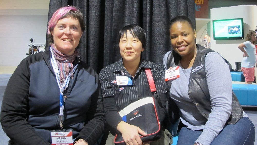IMS 2011 at the Women Ride booth: Alisa (left), Me and one of our IMS volunteers