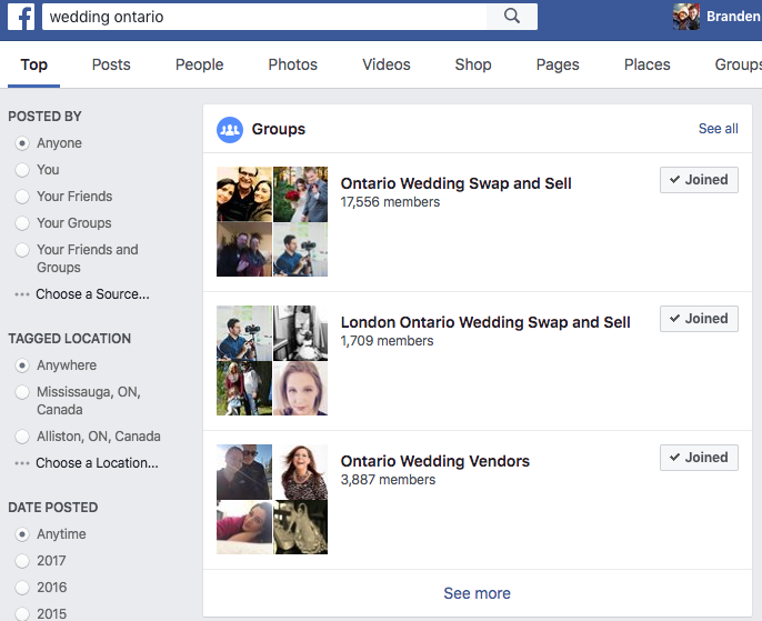 Facebook search results weddings