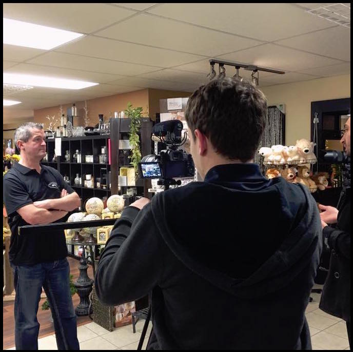 Behind the scenes filming a small business commercial