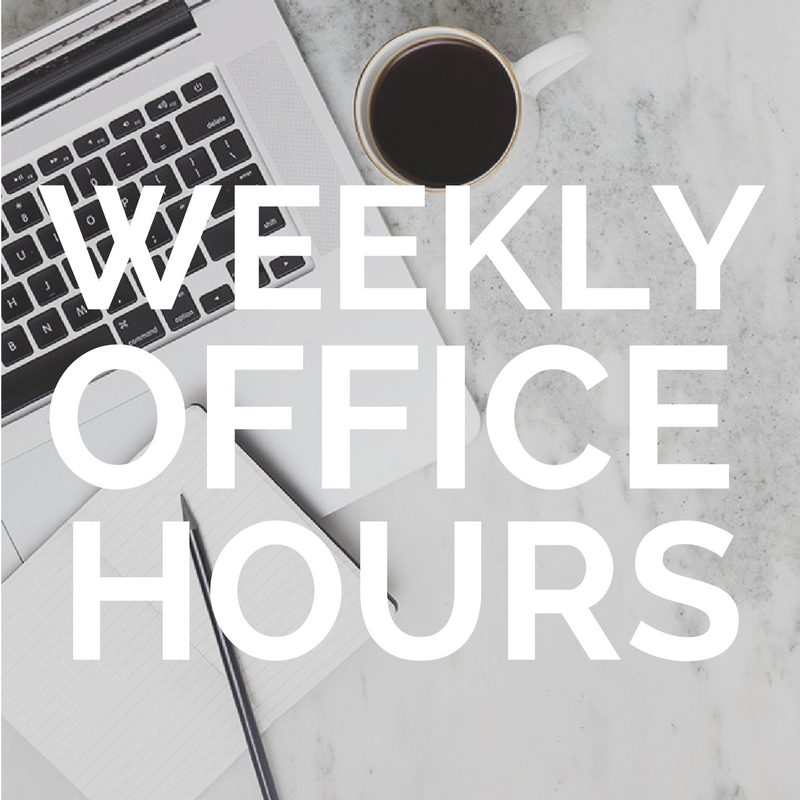 Open Office Hours   Need quick coaching feedback?  Have a question?  Need ideas around how you can create more support in your life?  Reach out!