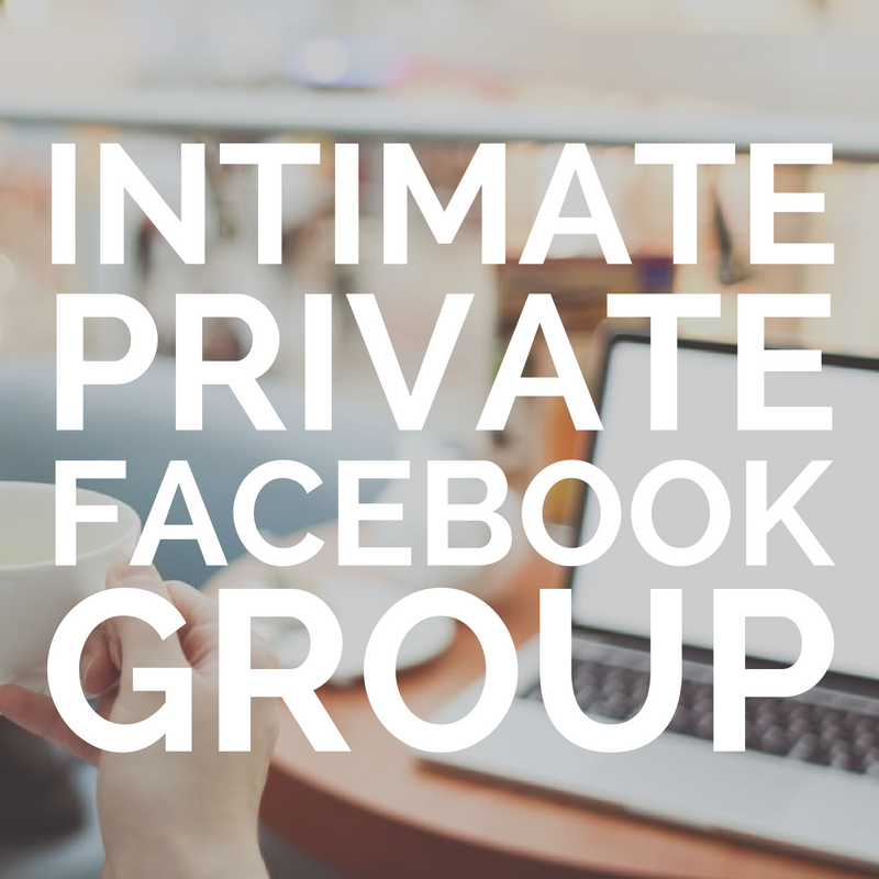 Private Facebook Group    Head over here for an additional layer of support, idea sharing and accountability with the team.