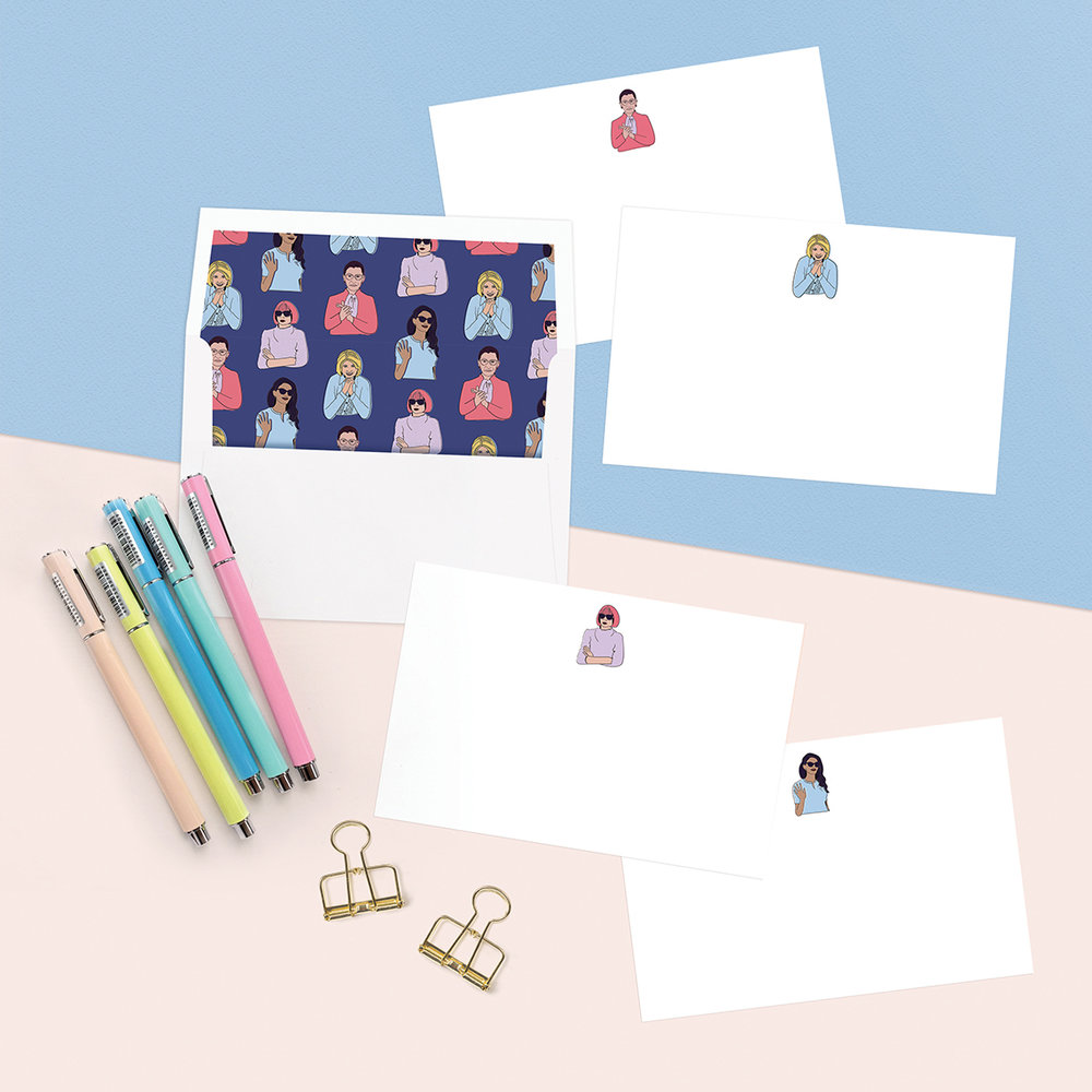Stationery - each set includes 12 cards+ lined envelopesSend a congrats toa special boss lady