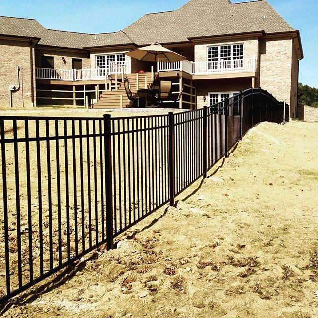 Black aluminum fence completed in Calvert City, KY! #wecanrollit #pool #kentucky #fence #decorative #aluminum
