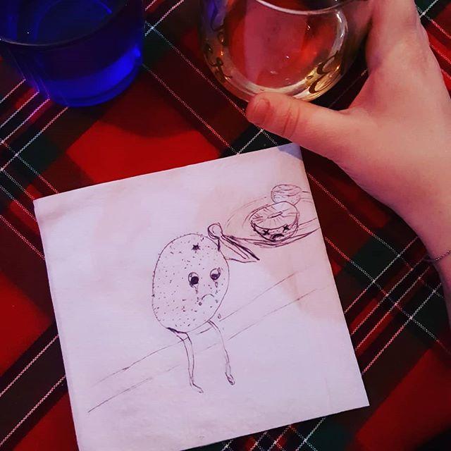 Elizabeth's Kiwi #thebirdnotthefruit #cocktailnapkinsketch #sisterdate