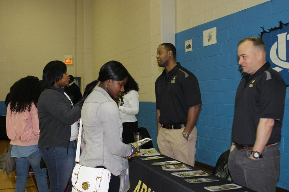 Students at HBCU Experience College/Career Fair at the United States Army table