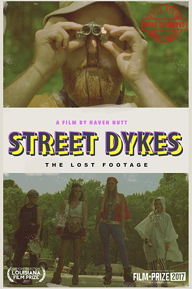 """STREET DYKES - A FILM BY HAVEN NUTT (2017, 16MM)In this surreal version of the """"found-footage"""" film, Cecil Tanner (filmmaker) sets out on a journey to find the infamous street dykes of Louisiana. Through a bizarre and playful lens, STREET DYKES parodies and pays homage to 1970s documentaries.Award-winning filmmaker, Haven Nutt (MR. MAN, GUN) shot this movie on the 16MM tail ends of Joe Dante's PIRANHA (1978)."""