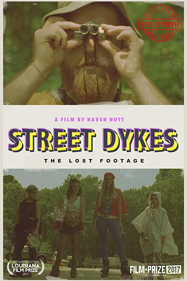 """STREET DYKES(2017, 16MM) - A FILM BY HAVEN NUTTIn this surreal version of the """"found-footage"""" film, Cecil Tanner (filmmaker) sets out on a journey to find the infamous street dykes of Louisiana. Through a bizarre and playful lens, STREET DYKES parodies and pays homage to 1970s documentaries. Award-winning filmmaker, Haven Nutt (MR. MAN, GUN) shot this movie on the 16MM tail ends of Joe Dante's PIRANHA (1978)."""