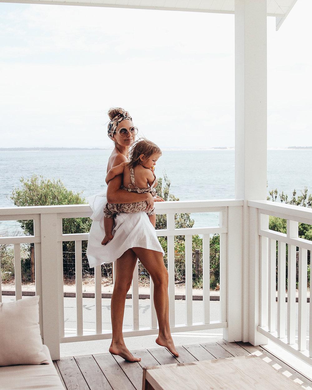 Marcia + Poppy on the Salt One balcony.