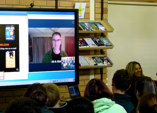 Arthur's Floating head Skyping with a school in Australia...