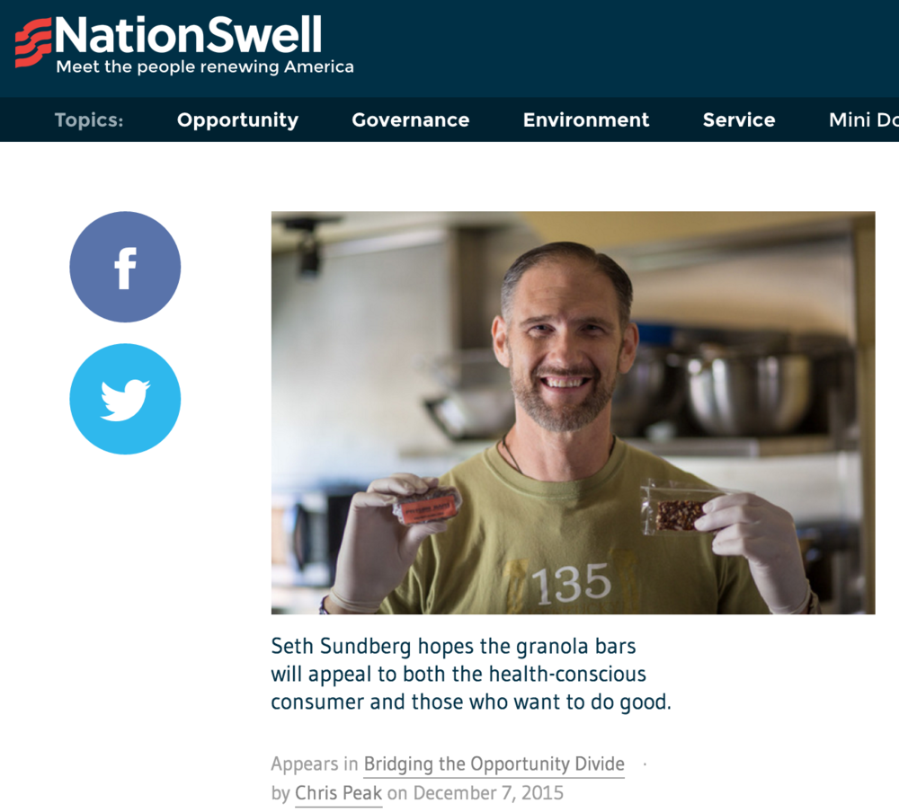 Nation Swell: Seth Sundberg hopes the granola bars will appeal to both the health-conscious consumer and those who want to do good.