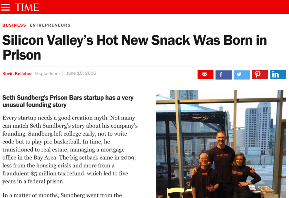 TIME Magazine: Silicon Valley's Hot New Snack Was Born in Prison