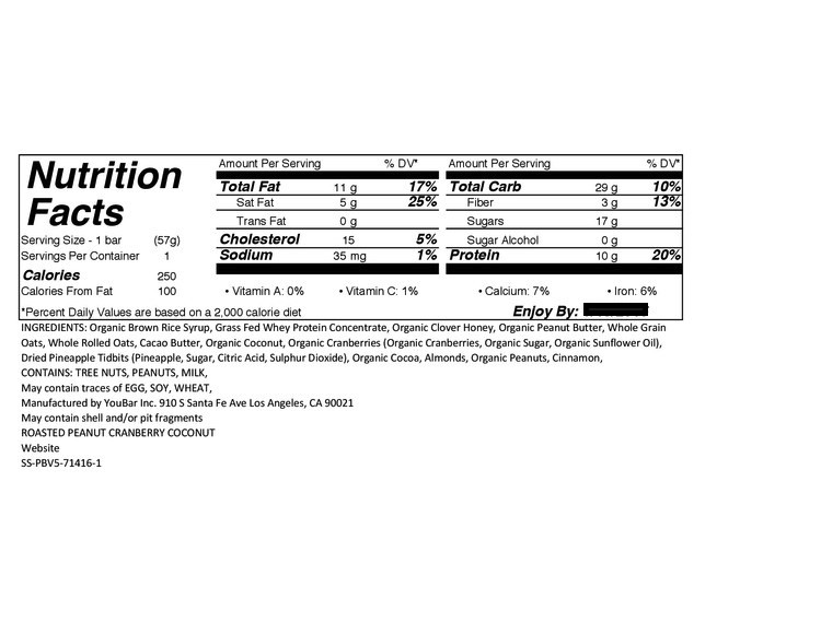 Here's a look at the Nutrition Label for our Roasted Peanut with Cranberry Coconut bars.