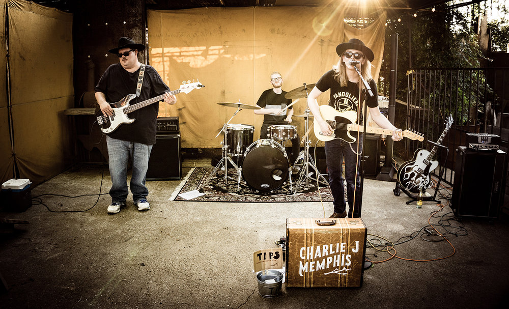 Charlie J Memphis and Band playing on a 100+ Day at Chopper Supply Company in Fort Worth.