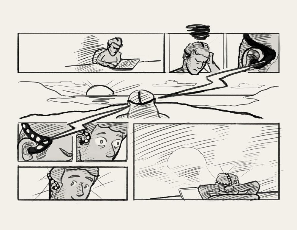 Rough storyboard sketch