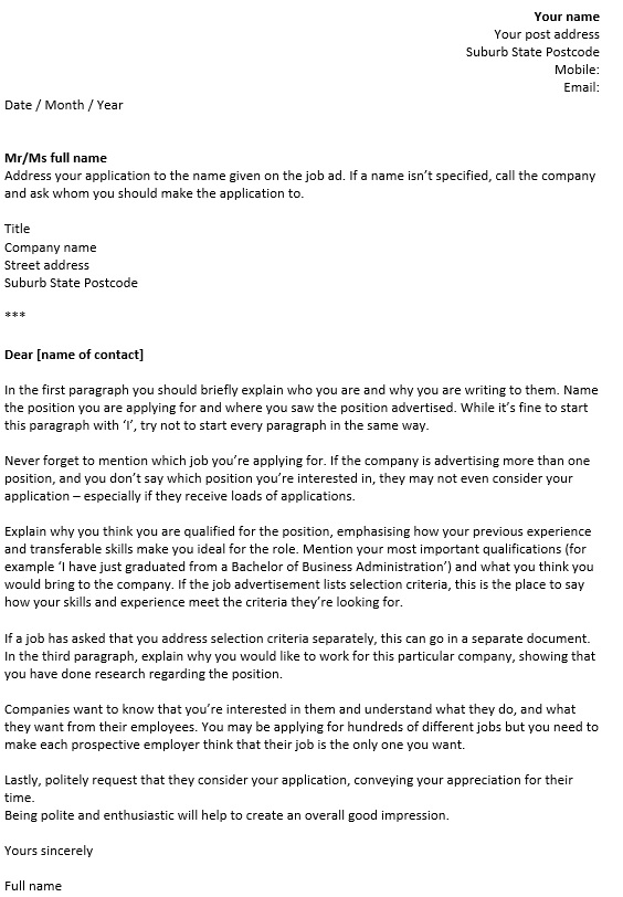 how to write a coverletter - Australian Cover Letters