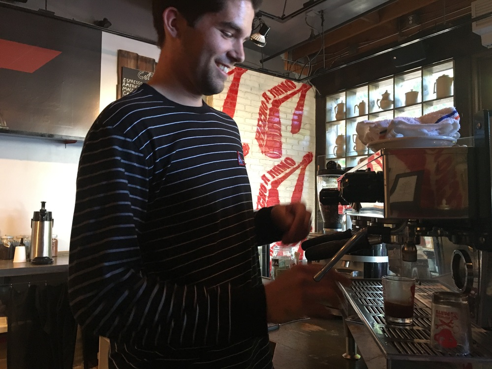 Timmy in action (pulling an espresso shot)