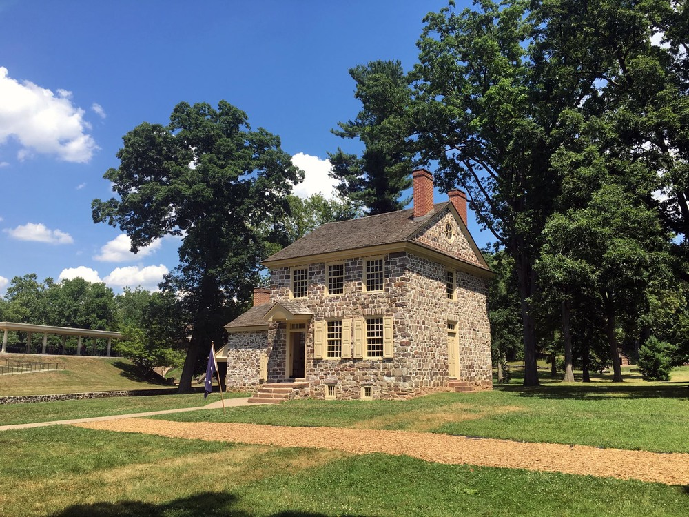 Washington's Headquarters were in a stone house owned by Isaac Potts; the house was rented to Washington and his military associates during the during the encampment by Potts' lessee, Deborah Hewes.