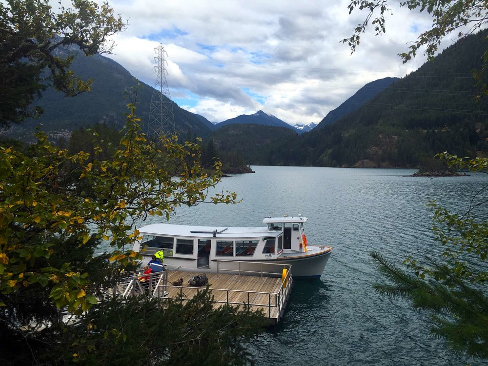 Diablo Lake and ferry, photo by Derek Wright.