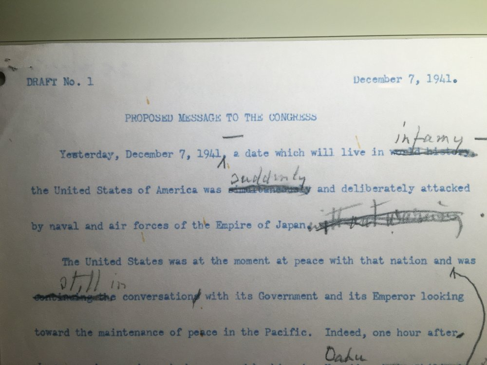 Draft of Roosevelt's speech to Congress, photo by Derek Wright.