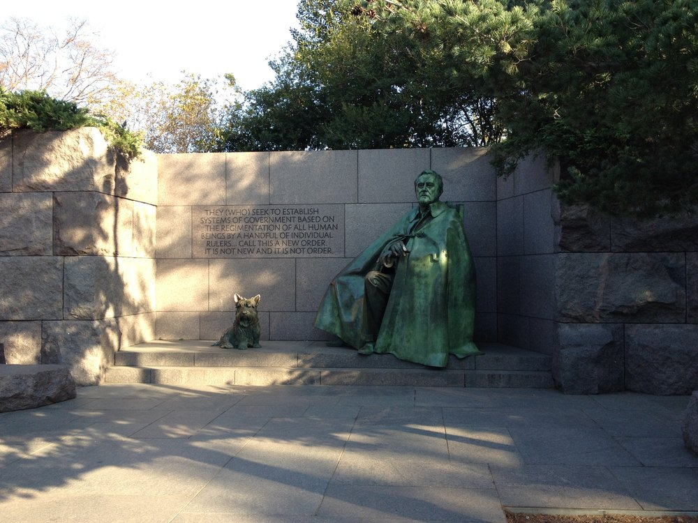 One section of the Franklin Delano Roosevelt Memorial, photo by Derek Wright.