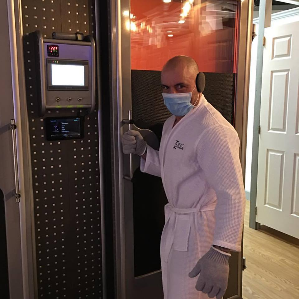 Joe Rogan preparing for the Cryo Chamber at CryoHealthcare in CA.