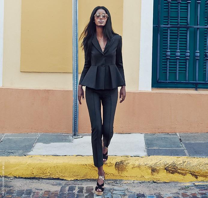 Peplum Top    Pants    Wedge Sandals    Sunglasses