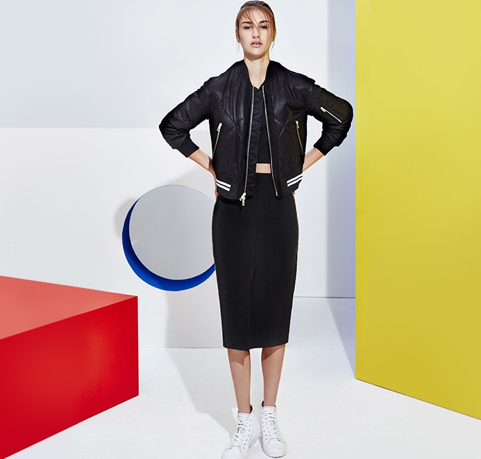 Rag & Bone Sleeveless Riley Top paired with Rag & Bone Vine Bomber jacket, Rag & Bone Phoebe Skirt and Rag and Bone standard issue Canvas high top sneakers